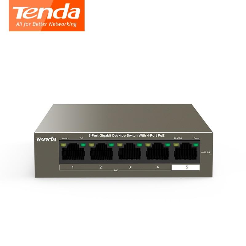 Tenda TEG1105P-4-63W POE сети переключатели гигабитный коммутатор 5*10/100/1000 Мбит/с RJ45 Порты и разъёмы PoE 10 Гбит/с коммутации Ёмкость plug and play