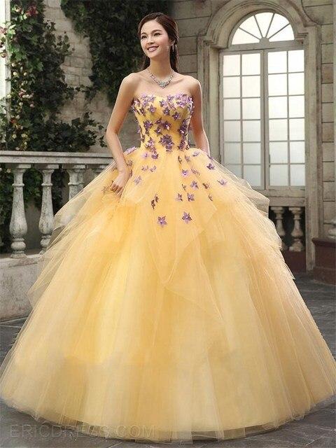 e97079e30f3 Beading Appliques Debutante Gown Light Yellow Lace Up Quinceanera Dresses  Ball Gowns Strapless Organza Vestidos De 15 Anos 2015