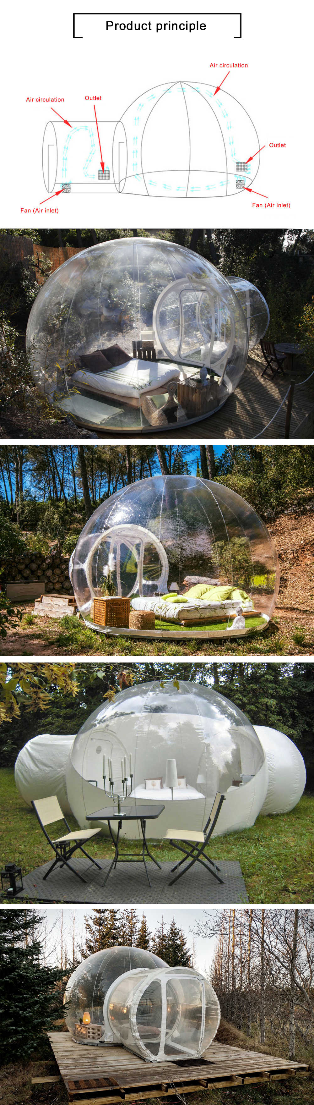 3/4/5m 10/13/16ft Outdoor Camping Inflatable Bubble Tent Large Diy House Dome Camping Cabin Lodge Air Bubble Transparent Tent 2