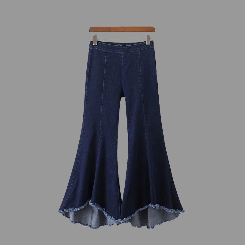 2017 European Dark Blue Fringe Women Jeans Denim Irregular Flare Pants High Waist Casual Ankle-Length Bell Bottom Trousers Femal women girls casual vintage wash straight leg denim overall suspender jean trousers pants dark blue
