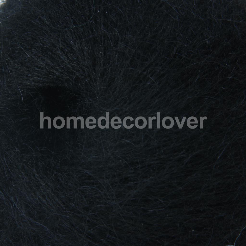 Una Matassa Di Nero Angola Mohair Cashmere Lana Filati Per Maglieria Ago Size 9-12 #