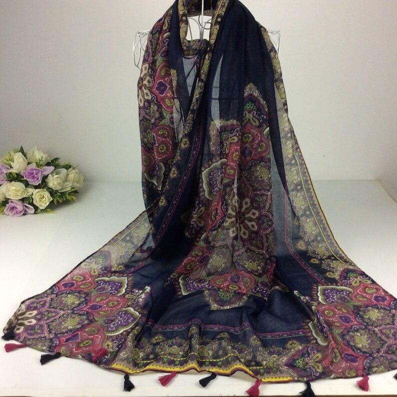 133c34b36bc4e Mix Tasarım Sipariş Koyu Renk Kaju Fındık Çiçek Baskı Kadın Şal Müslüman  Başörtüsü Pamuk Viskon Uzun Püsküller Eşarp Bohemia Tarzı