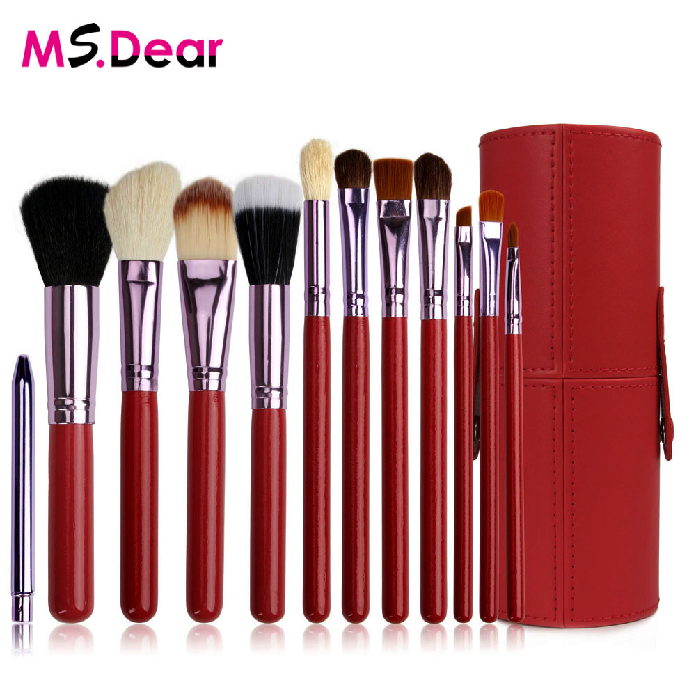 12 pcs/set Professional Makeup Brush Tools Set Leather Barrel Bag Cosmetic Powder Eye Shadow Brow Eyeliner Make Up Brushes Kit cosmetic 2 pcs makeup set 2 colours double layer gel eyeliner and brow powder with double end brush
