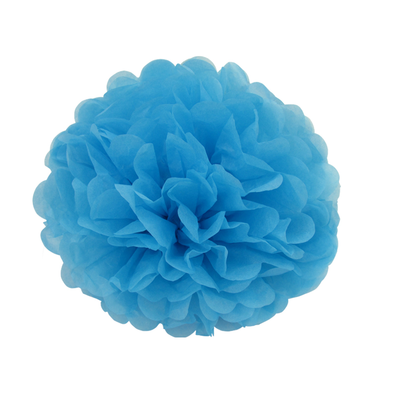 10 pieces per lot sky blue Tissue Paper Pom Poms baby boys birthday party hanging decoration