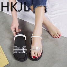 HKJL 2019 new transparent slipper platform with thick bottom two women wearing flip-flops go A355
