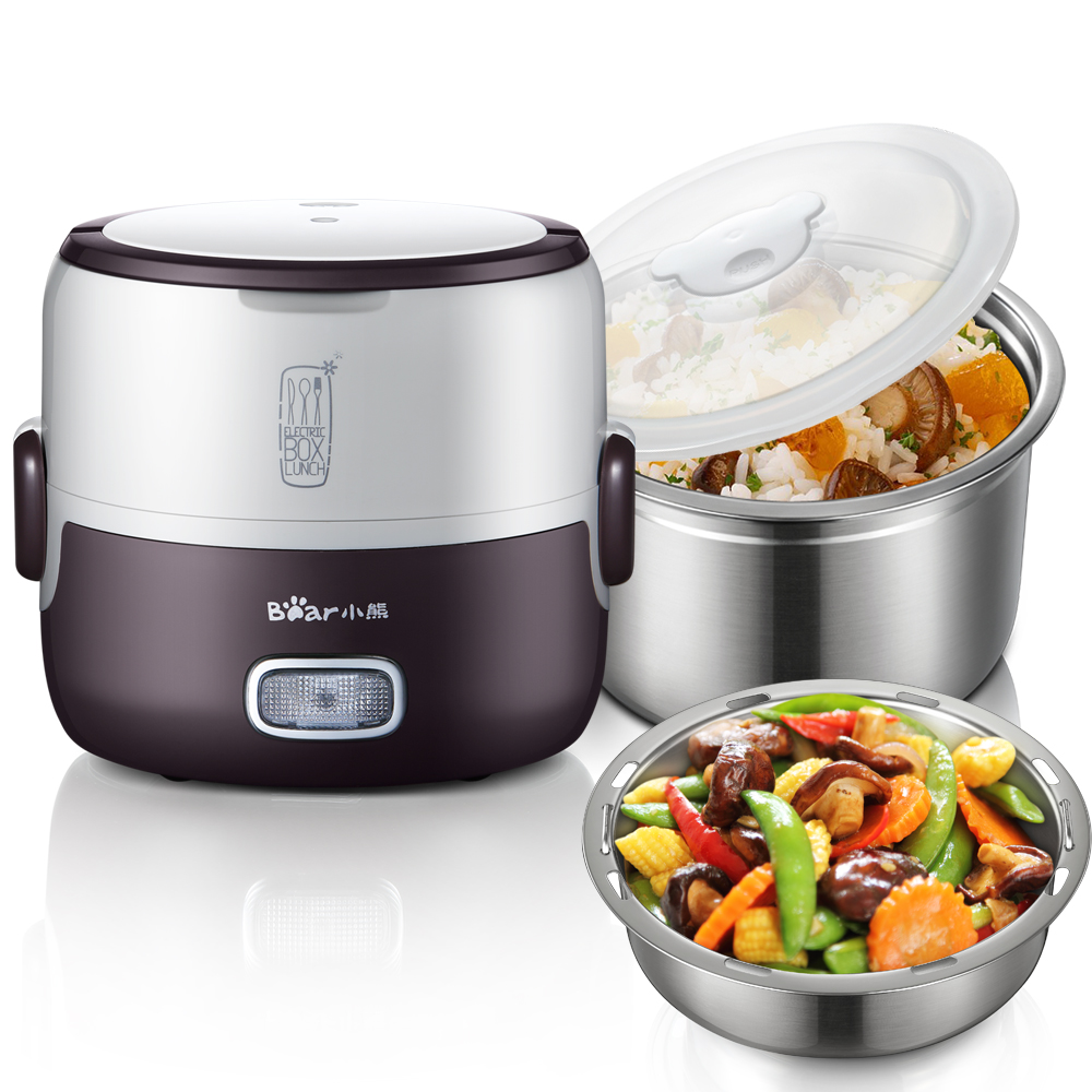 Bear Portable Mini Electric Lunch Box Stainless Steel Preservation for Home and Office Mini Rice Cooker Box Container 3 layers portable electric lunch box for 1 2 people office home multi cooker mini rice cooker reheat