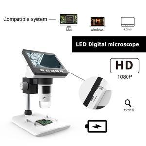Image 2 - 1000X 4.3 بوصة 8 LCD ضوء المجهر الرقمي HD 1080P سطح المكتب لحام المكبر الإلكترونية تكبير الزجاج دعم 10 لغات
