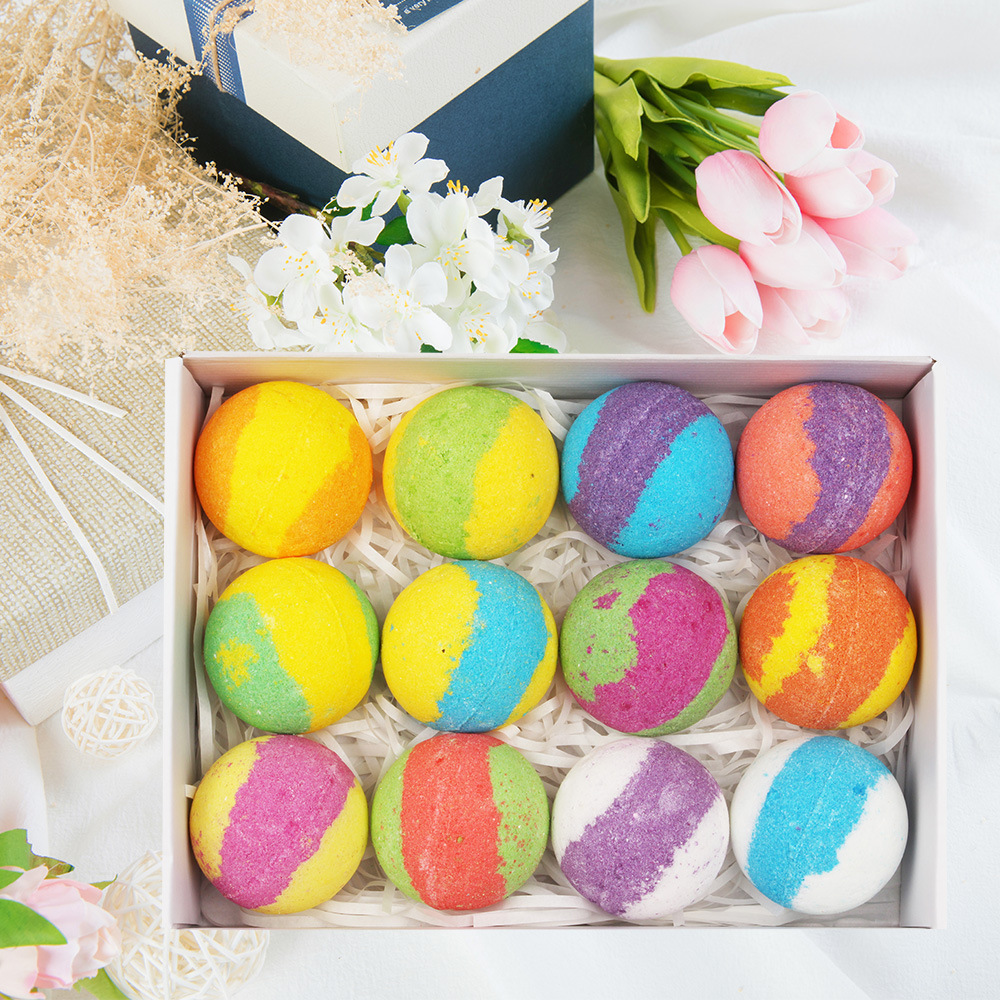 12/6/4 Pcs Rainbow Colorful Bubble Shower Salt Handmade Moisturizing Soap Bath Essential Oil Salt Bath Bomb Ball Gift Kit TSLM2