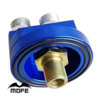 AN10 Aluminum Oil Filter Relocation With Adapters 3/4-16 UNF + M20XP1.5 Blue