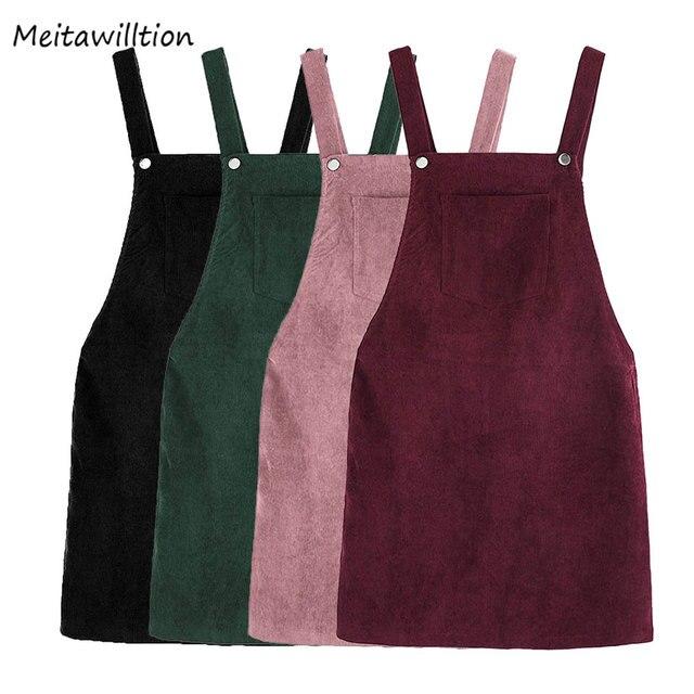 Осень ретро вельвет жилет Общая женское платье сарафан дамы рукавов карман Suspende повседневные платья свободные платья Природные