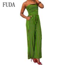 FUDA Plus Size XXL Sexy Wrapped Chest Striped Print Bodysuits Off Shoulder Sleeveless Pockets Slim Jumpsuits Summer Club Wear