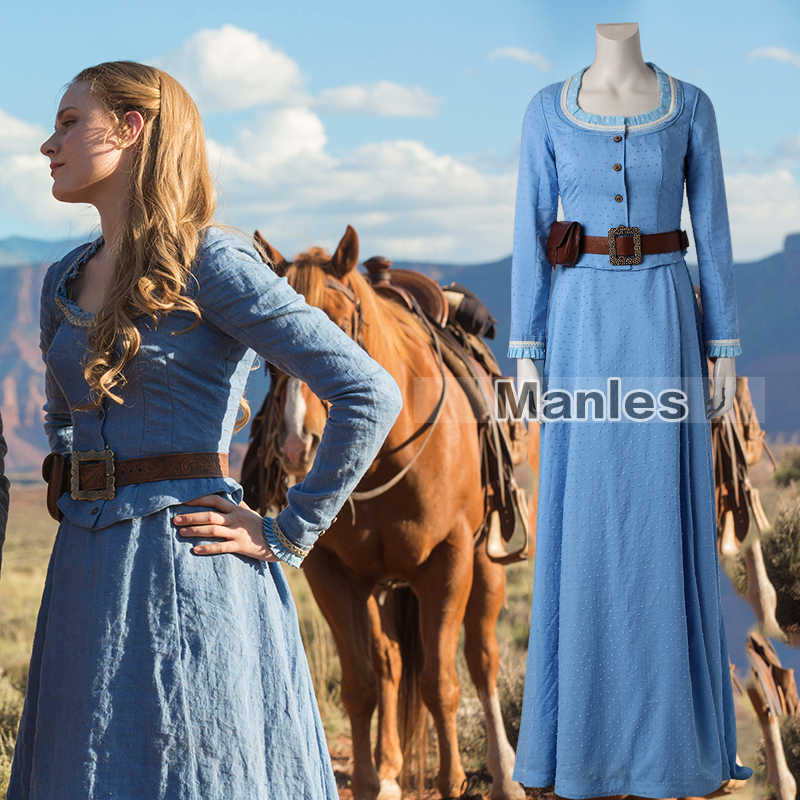 ef5152c960 Westworld Dolores Abernathy Cosplay Dress Blue Costume Cosplay Fancy Dress  Party Outfit Female Halloween Adult Women