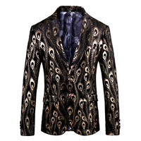FOLOBE Gold and Black Blazer Jacket for Men Fashion Mens Peacock Feather Printed Blazer Designs Stage Clothes Prom Blazers