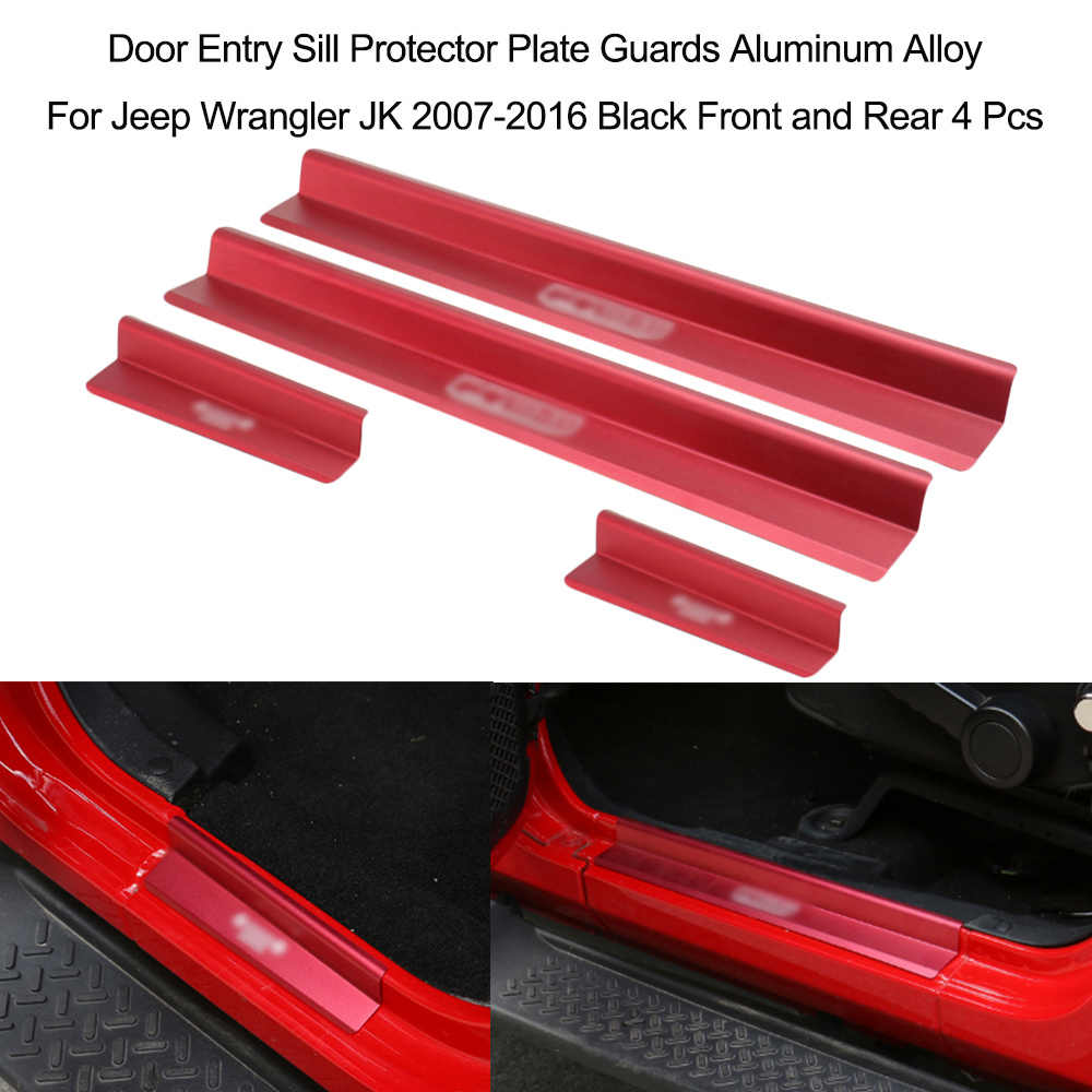 Car Accessories 4 Pcs Front and Rear Door Entry Sill Protector Plate Guards Aluminum Alloy for Jeep Wrangler JK 2007-2016