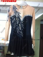 girls ice skating dress black ice dress for skating figure skating clothing for girls free shipping competition ice dress