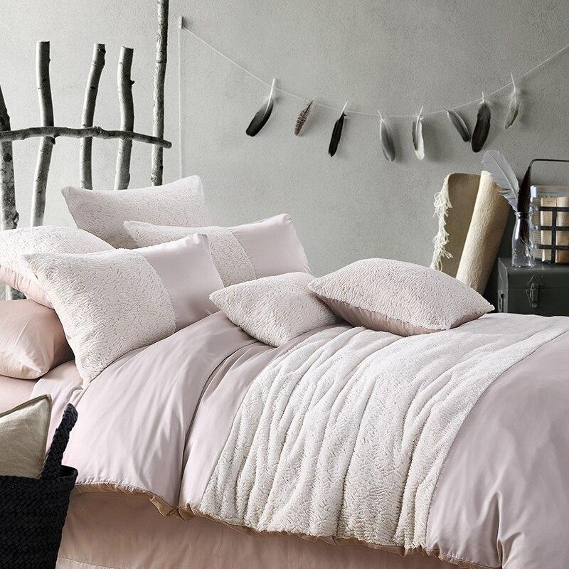 2015 Top Luxury Silk Cotton Rabbit Fleece Bedding Set