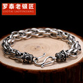 Skills old silversmith 925 silver bracelet Male character circle smooth bracelet Thai silver jewelry restoring ancient ways