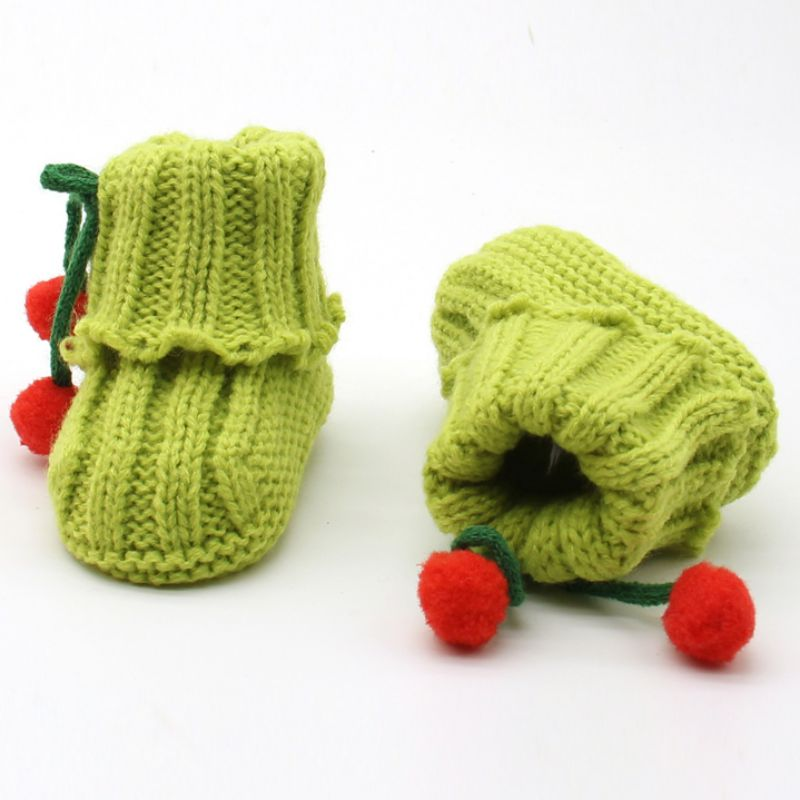 Infant Toddler Boots Winter Warm Crochet Knit Fleece Bow Baby Walker Crib Snow Shoes For Girls
