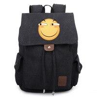 Funny canvas cute shoulder bag funny expression bag trend men and women leisure package bundle backpack
