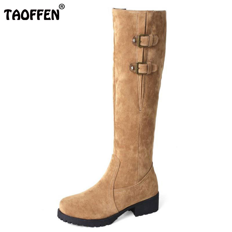 TAOFFEN Size 33-44 Women Knee Snow Boots Metal Buckle High Heel Boots Thick Fur Shoes In Winter Boots Long Botas Women Footwear faux fur buckle knee high snow boots