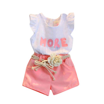 ARLONEET 2019 Girls Print Sleeveless T-Shirt+Shorts+Belt Outfits Clothes Set 2 to 7 years Baby Clothes Drop Shipping 30S0402