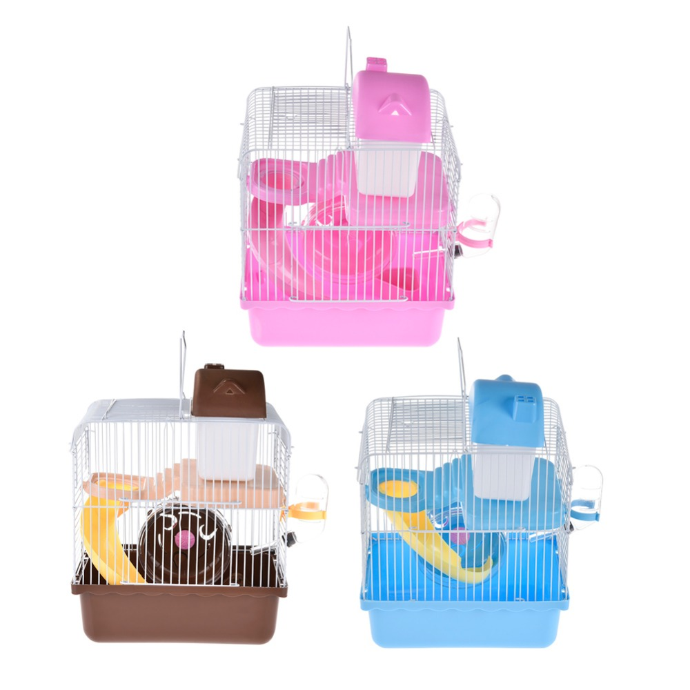2 Floors Storey Luxury Pet Hamster Cage Portable Small Pet Cage Nest House With Slide Disk Spinning Bottle Mini Hamster Supplie