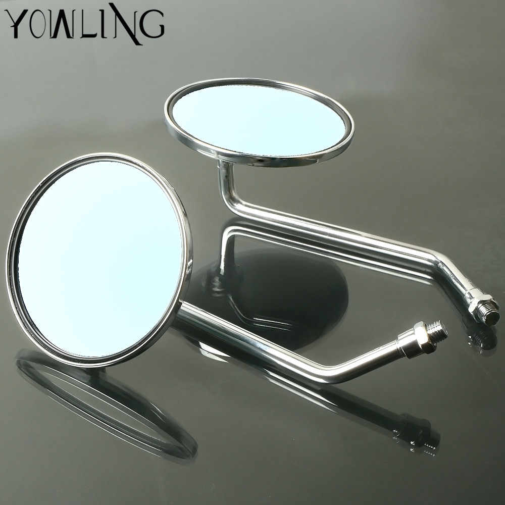 2Pcs 8mm Thread Dia Chrome Round Shaped Motorcycle Scooter Rear View Side Mirror
