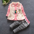 baby girls clothes sets 2016 new spring fashion newborn baby suits 3pcs outwear vest+printed long sleeve T-shirt+plaid pants