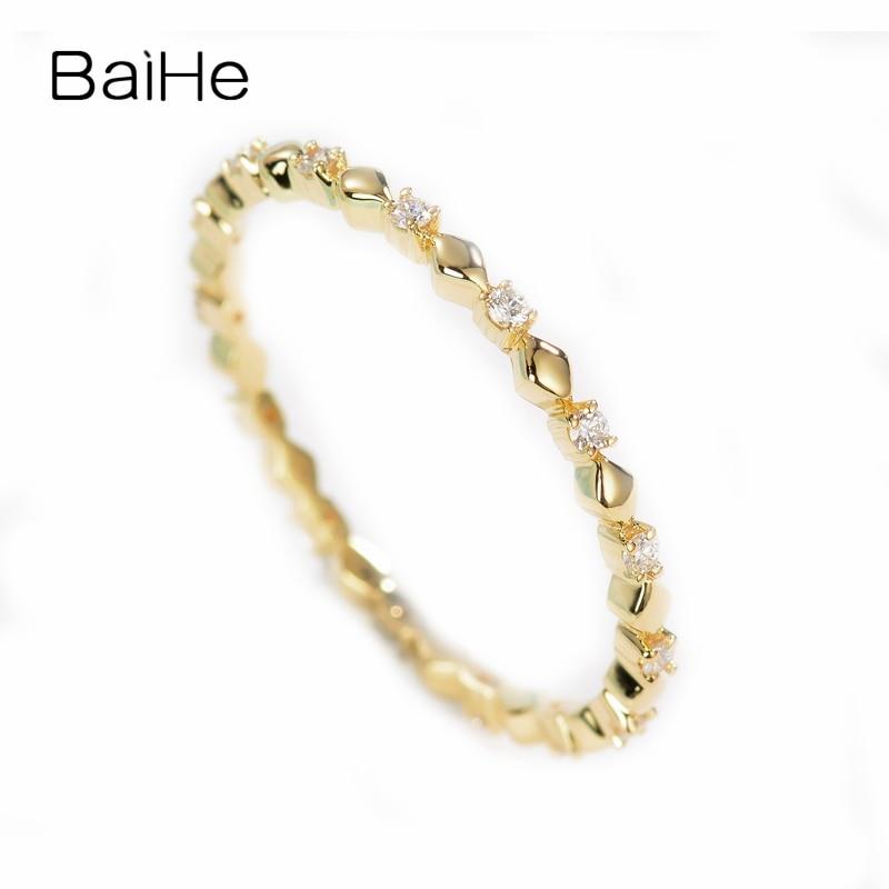 BAIHE Solide 14 k Jaune Or 0.11ct Certifié F-G/SI Round 100% Véritable Naturel Diamants De Mariage Femmes À La Mode Élégant unique Anneau