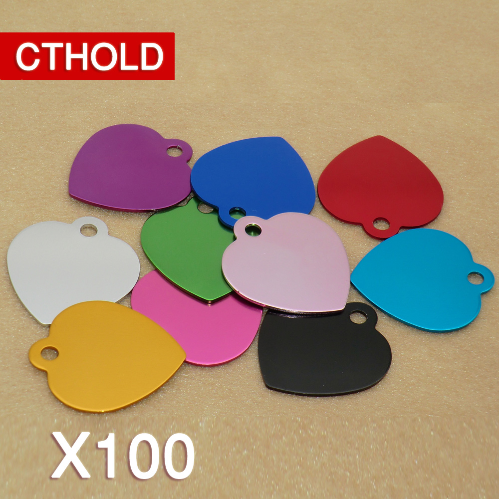 CTHOLD 100pcs Love Heart shape Aluminum Pet Name ID Tag Accessories For Dogs Cats Puppy Name Phone Number ID Tag dog Accessories rockspace eb30