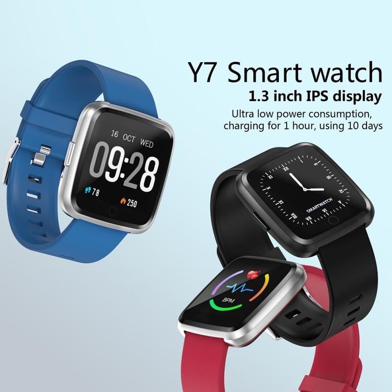 Schrittzähler Fitnessgeräte Sinnvoll Y7 Smart Watch Armband Blut Männer Frauen Druck Sauerstoff Sport Tracker Smart Watch Wasserdicht Heart Rate Monitor Armband Sparen Sie 50-70%