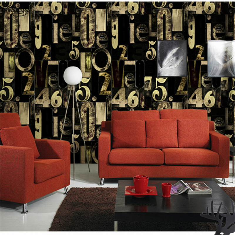 Beibehang 3D personnalité bleu noir lettres alphabet mode papier peint ktv bar restaurant salon vidéo mur papier peint