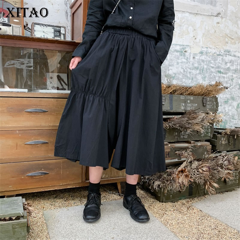 [XITAO] Summer 2019 Women New Casual Pleated   Pants   Patchwork Solid Color Asymmetrical Fashion Loose   Wide     Leg     Pants   DLL3540