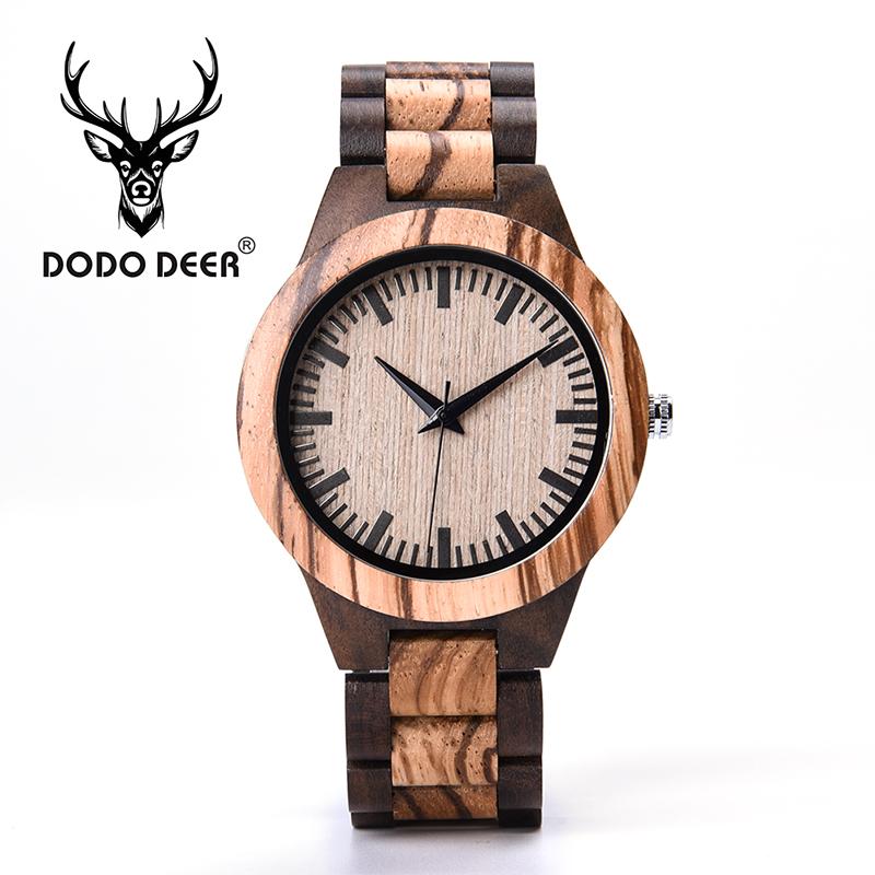 DODO DEER Stylish Zebra Wood Watches Men Japan Movt Vintage Wooden Bracelet Watch for Men Private Custom Logo Clock bA08-5