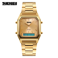 SKMEI Luxury Gold Watch Men Fashion Casual Waterproof Digital Quartz Wrist Watches Relogio Masculino Male Clock