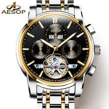 Moda AESOP tourbillon hombres reloj de oro reloj mecánico Automático de acero Inoxidable fecha de Zafiro a prueba de agua reloj relogio masculino