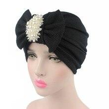 Turbante de lazo grande de algodón con perlas para mujer, gorro de lana para quimioterapia con nudo para cáncer, accesorios para el cabello