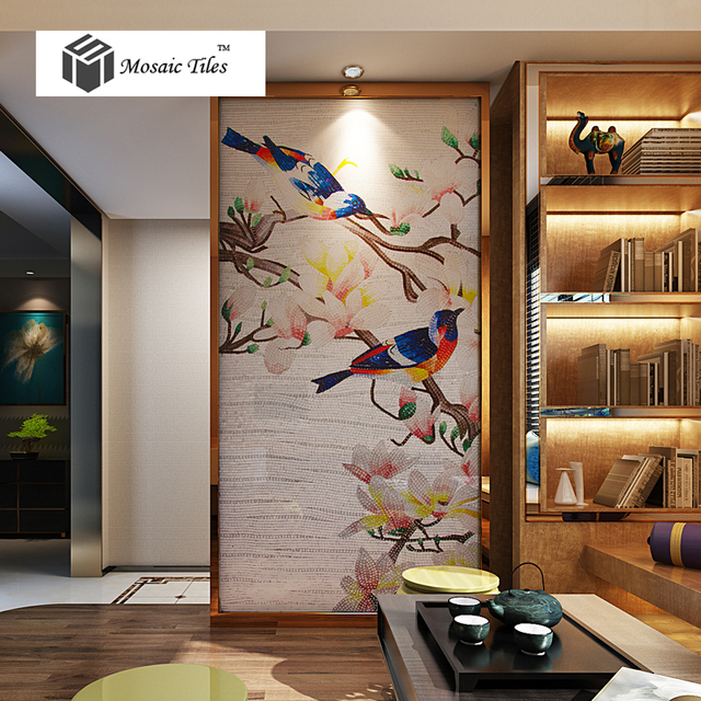 Interior Wall Decor Parquet Art Mosaic Bisazza Style Spring Nature Birds Fl Puzzle Unique Home Hotel