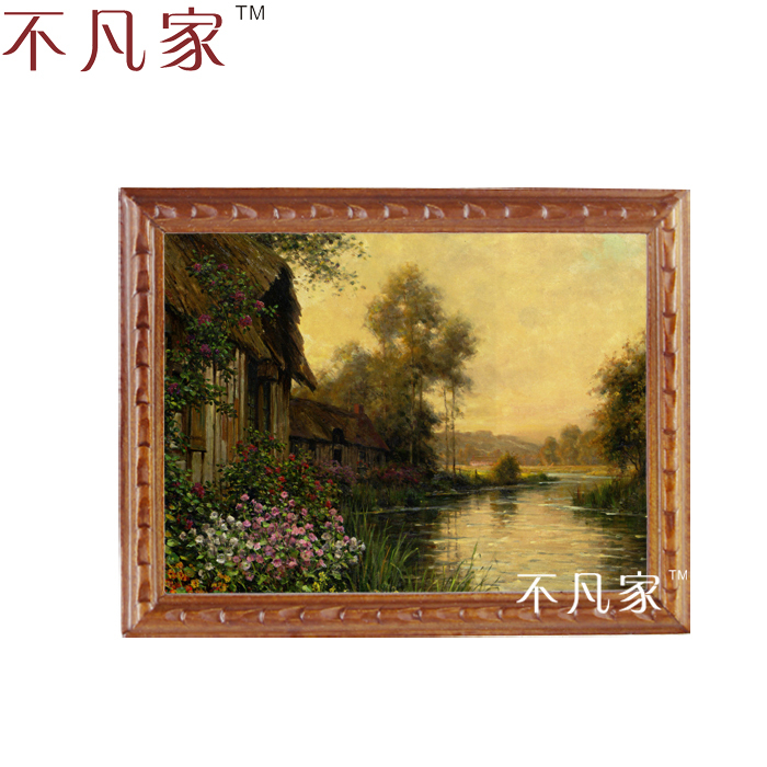 Wholesale  1:12  scale dollhouse  miniatue Classical beautiful village with a stream oil painting B-9