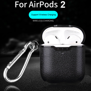 Image 1 - For Airpods Earphone Case Litchi Leather Pattern Soft TPU Bluetooth Wireless Earphone Case For Airpods 2 Wireless Charging Box
