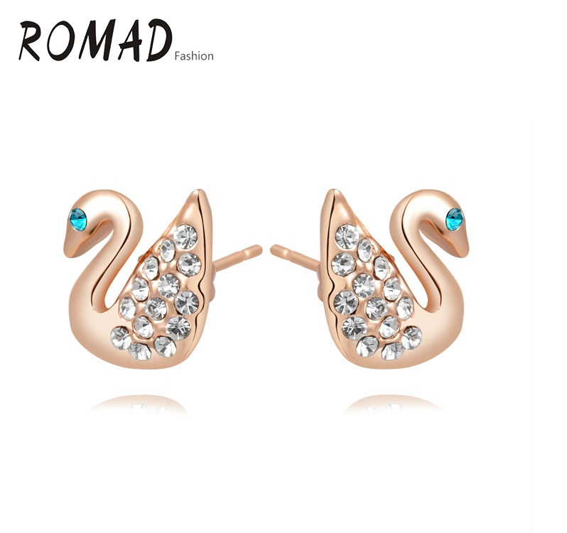 ROMAD Earrings Goose Duck Shape Genuine Austrian Crystals Gold Color Animal Fashion Women Earrings