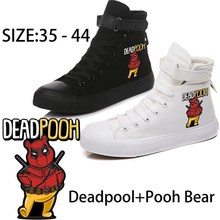 PoohBear Cosplay Deadpoo Printed Illustration High Top Breathable Canvas Uppers Sneakers Teen Personalise Fashion Sandshoes