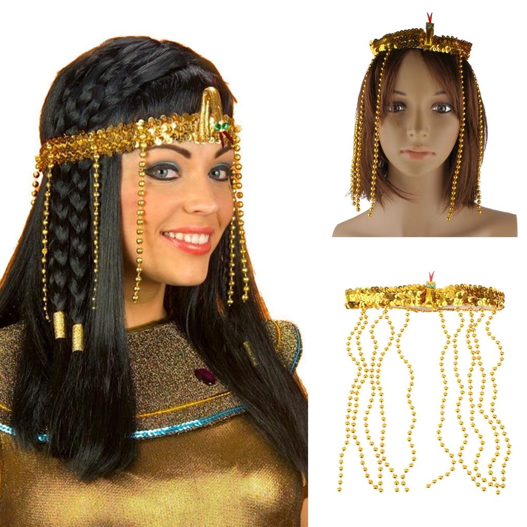 Charming Egyptian Style Women Crown Headband Gold Cleopatra Queen Bead Headdress Headband Sequin Crown Fancy Dress