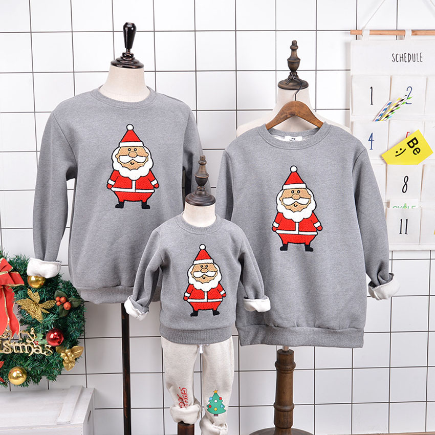 Cartoon Christmas Deer Pattern Winter Warm Sweaters for Boys Pullover Kids Girls Velvet Hoodies Family Christmas Pajamas christmas snowfield deer pattern indoor outdoor area rug