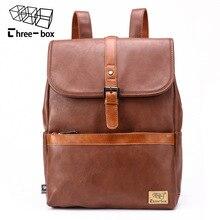 ثلاثة صندوق جديد الرجال النساء حقيبة الظهر الموضة عالية الجودة الرجعية عارضة سعة كبيرة الذكور 14 بوصة حمل حقيبة طالب حقيبة السفر