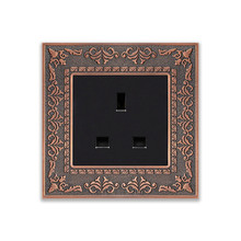 UK Standard Emboss style 13A Square hole wall socket, Zinc alloy frame Wall power electrical outlet, Free shipping цена