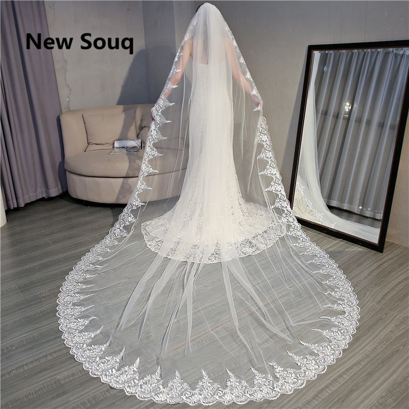 2019 New Wedding Veils Wedding Accessories 3m Length 3.5m Width Long Bridal Veil High Quality Wedding Veil In Stock