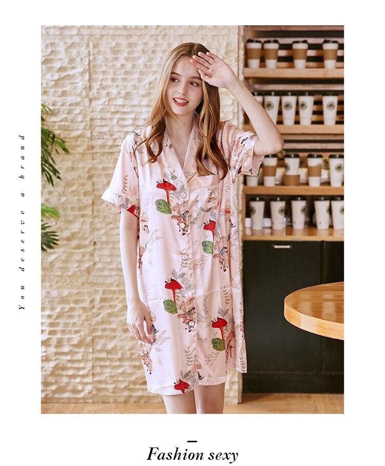 382c0b44275b Casual Night Dress Sleepwear Satin Short Sleeve Floral Nightgown ...
