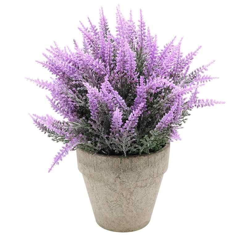 NOVOS Arranjos de Lavanda Flores Artificiais Flores de Plástico em Vasos para Casa e Decoração Do Jardim