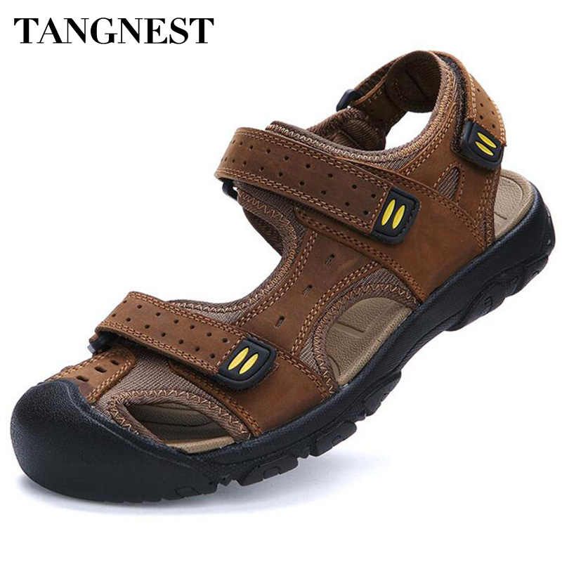 Tangnest Brand Men Beach Sandals High Quality Genuine Leather Sandals Mens Breathable Cut-out Sandal Shoes Plus Size 47 XML186